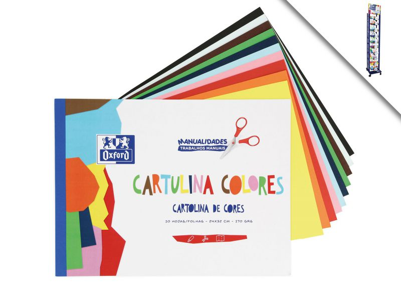 BLOC CARTULINA COLORES A4 10H 180GR OXFORD 983