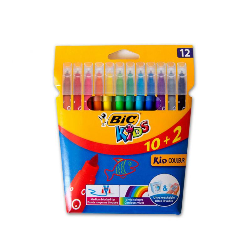 ROTULADORES KIDS COULEUR 12 COLORES BIC